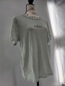 Zoe+Liv Womens Aqua Gray Relax Short Sleeve Crew Neck Pullover T Shirt Size XL