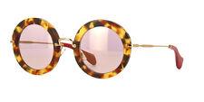 NEW Miu Miu MU13NS UA54M2 Sunglasses, Sand Light Havana / Pink Gold Mirror