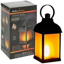 Decorative Antique Look Black Hanging Dancing Flame Effect LED Light Lantern