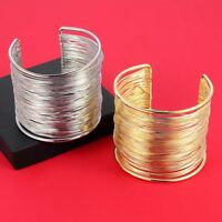 Fashion Curve Gold/Silver Wide Opened Cuff Bracelets & Bangles Ladies Jewelry