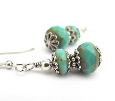 TURQUOISE BEADED EARRINGS DAINTY SILVER PLATED DANGLE DROPS BLUE GREEN SPRING