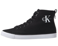 Calvin Klein Jeans Mens UK 8 Arthur Black & White Canvas Hi Top Trainers Shoes