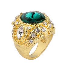 Vintage Style Gold Dark Green Wide Crystal Medium size O 17 mm Ring FR279