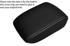 WHITE STITCHING LEATHER ARMREST LID SKIN COVER FITS SAAB 9-5 95 2006-2009