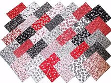 68 5 inch Quilting Fabric Squares Red/Black and Whites 2
