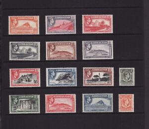 GIBRALTAR 1938-51 KGVI DEFINITIVE FULL SET 14 STAMPS to £1 MINT UNHINGED OG