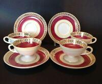 4 Demitasse Pedestal Cups & Saucers - Red Cream & Gold - c. 1950 Occupied Japan