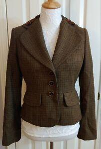 Banana Republic Green Brown Plaid Wool Alpaca Blazer Jacket Beaded Collar Size 6