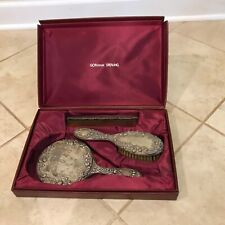 Antique Gorham Sterling Silver 3 pc. Vanity / Dresser Set Hairbrush Mirror Comb