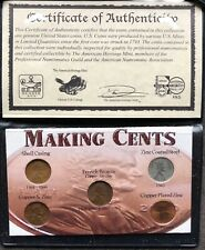 USA Lincoln Cent Material Set in Umschlag mit Zertifikat