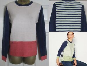 New Mantaray Womens Colour Block Cosy Knit Jumper Top Green Pink Blue Size 10-18
