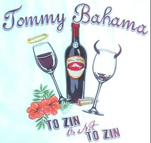 """❤TOMMY BAHAMA MENS sz L """"2 ZIN OR NOT 2 ZIN"""" EMBROIDERED SILK SS SHIRT~ 48 CHEST"""