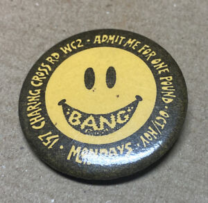 Smiley Face Lge Bang Club London West End Pin Badge 1980s Original Red Moon Nos