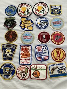 Lot of 20 Vintage Sew On Patches Soccer softball 1980s San Diego