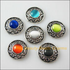 12 New Charms Tibetan Silver Cat Eye Stone Round Pendants Connectors Mixed 18mm