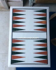 """12""""x18"""" White Marble Backgammon Coffee Table Top Rare Inlay Newyear Decors H4373"""