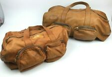 """Vtg 70s pair matching DUFFLE BAGS Travel Soft Leather 17"""" & 24"""" Talon Weekend"""