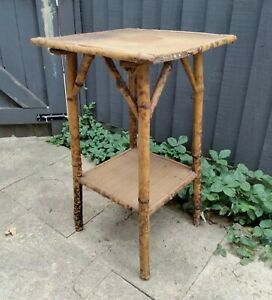 Antique tortoiseshell bamboo 2 tier accent side lamp table for restoration