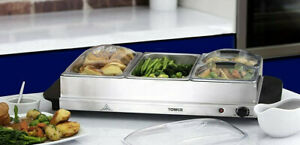 Tower Four Tray Food Warmer Buffet Server Hot Plate 300w Stainless Steel