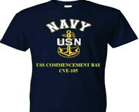 USS COMMENCEMENT BAY  CVE-105  VINYL & SILKSCREEN NAVY ANCHOR SHIRT.