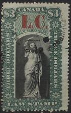 Canada VanDam # QL12 $3.00 green & black Quebec Law of 1864 overprint LC