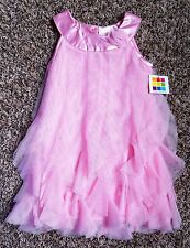 NWT Girl's Size 3T Year Heathtex Pink Ruffled Silver Glitter Embellish Dress