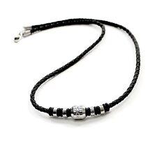 Echt Leder Kette geflochten Lederkette Herrenkette Halskette mit Edelstahl