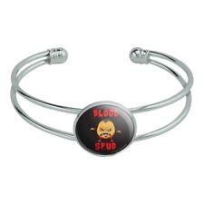 Blood Spud Vampire Potato Funny Humor Silver Plated Metal Cuff Bracelet