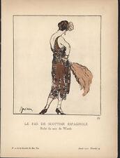 Etienne Drian in Gazette du Bon Ton pochoir Worth-designed evening dress 1920