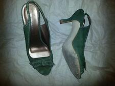 Green suede mid-heel open toe sling backs - size 41