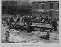 BOWLING GREEN, HORSES, SLEDS, SLEIGH RIDE NEW YORK BY A. B. FROST, ENGRAVING