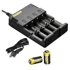 NEW NITECORE i4 Intellicharge Charger w/ Two RCR123A  Batteries NL166 AA 16340