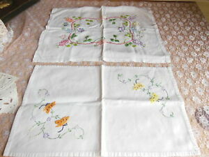 2 Vintage Hand-Embroidered Floral Linen Table Mats