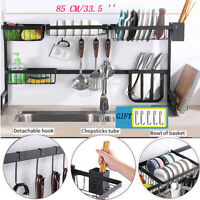 2 Tier Dish Drying Rack Over Sink Kitchen Supplies Storage Shelf Stainless Steel