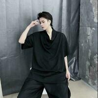 Summer Trendy Yamamoto style Chic pile pile collar design Mens Loose T-shirt Top