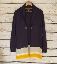 New Tommy Hilfiger Sweater Cardigan Knit Long Womens XL Toggle Button Navy Blue