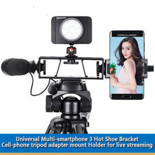 Universal Multi-smartphone 3 Hot Shoe Bracket Cell-phone tripod adapter mount