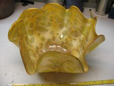 BLOWN  GLASS  RUFFLED  HANDKERCHIEF  BOWL  SIGNED   PEOPLES  POTTERY  SUPER