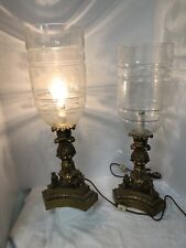 Vintage Gilbert Electric Brass & Etched Glass Hurricane Table Lamps Grapes