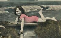 VINTAGE Harding & Billing's Young Girl in Pink Swimmers It's Cold POSTCARD USED