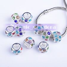 5pcs 12x8mm Paved Rhinestones Metal Big Hole Charms Loose Spacer Beads Findings