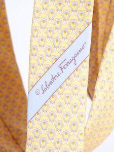Salvatore Ferragamo 100% Silk Yellow Hares Tie