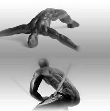 Diving and Climbing Man 2 Sculpture Bundle - Black Iron Wall Art Decor Handmade