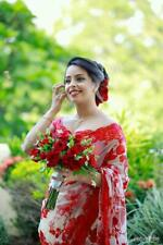 Red Net Bollywood Saree Party Wear Designer Sari