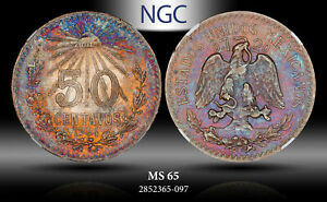1944 Mo MEXICO SILVER 50 CENTAVO NGC MS65 MONSTER COLOR TONED