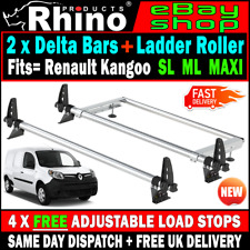 Renault Kangoo Roof Rack Bars x2 With Rear Roller Rhino Delta For 2009-2018 Van