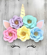 Giant Large Unicorn With Flowers Birthday Party Backdrop Room Wall Decoration 3D