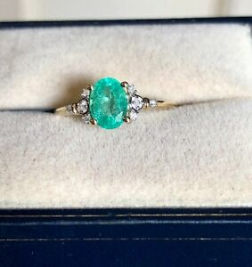 ETHIOPIAN EMERALD & DIA RING 9CT Y GOLD SIZE N 1/2  'CERTIFIED' AMAZING COLOUR!