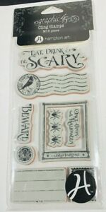 New Graphic 45 A Grim Fairytale 3 Rubber Stamp Hampton Art Once Upon A Halloween