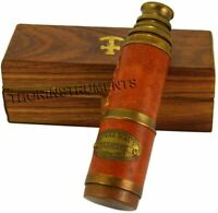 Brass Leather Encased Brass Telescope with Wood Box Handmade Gift